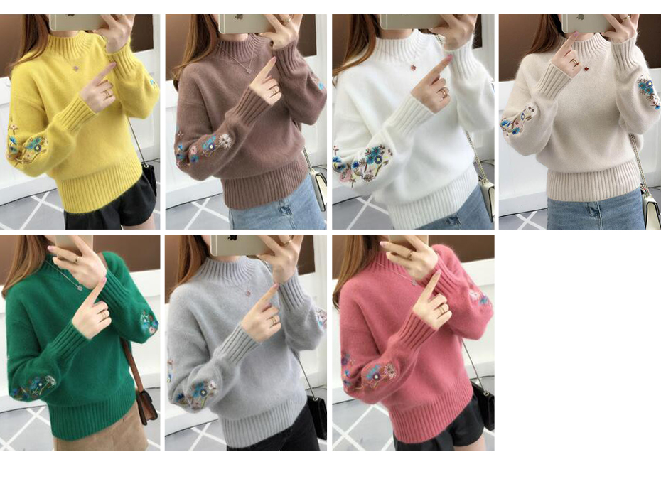 Surmiitro Cashmere Women Turtleneck 19 Autumn Winter Knitted Embroidery Jumper Women Sweaters And Pullovers Female Pull Femme 5