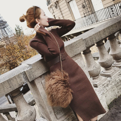 Knitted Dress Women 2018 Autumn Winter Long Sleeve Slim Elastic Turtleneck Sweater Bodycon Knee Length Dress With Belt