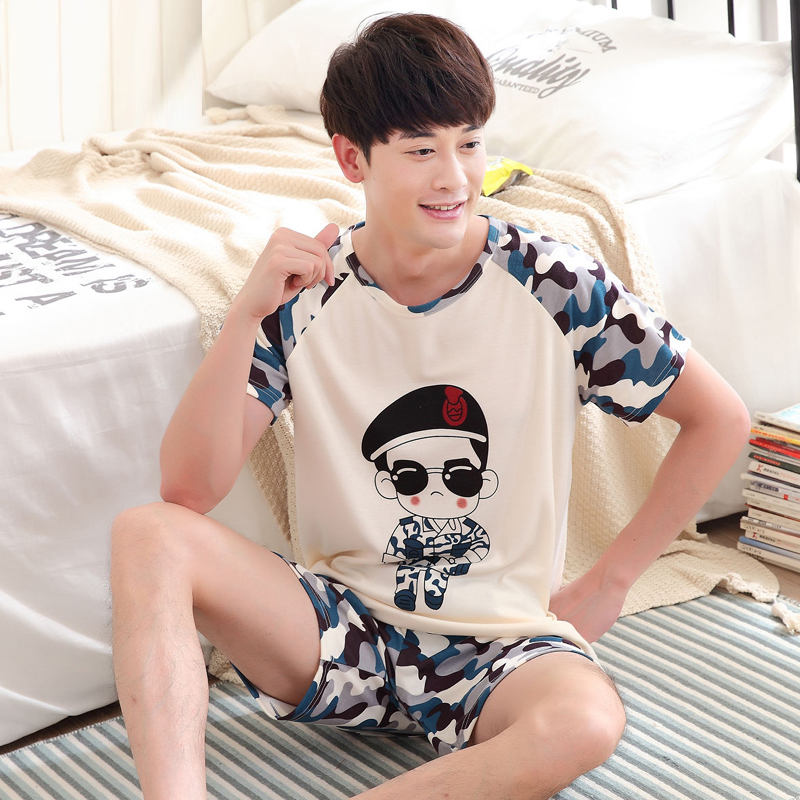 Yidanna Camouflage Uniform Print Short Sleeved Pajamas Set For Men Sleepwear Pyjamas Piyamas Cotton Nightwear Shirt+pants Summer