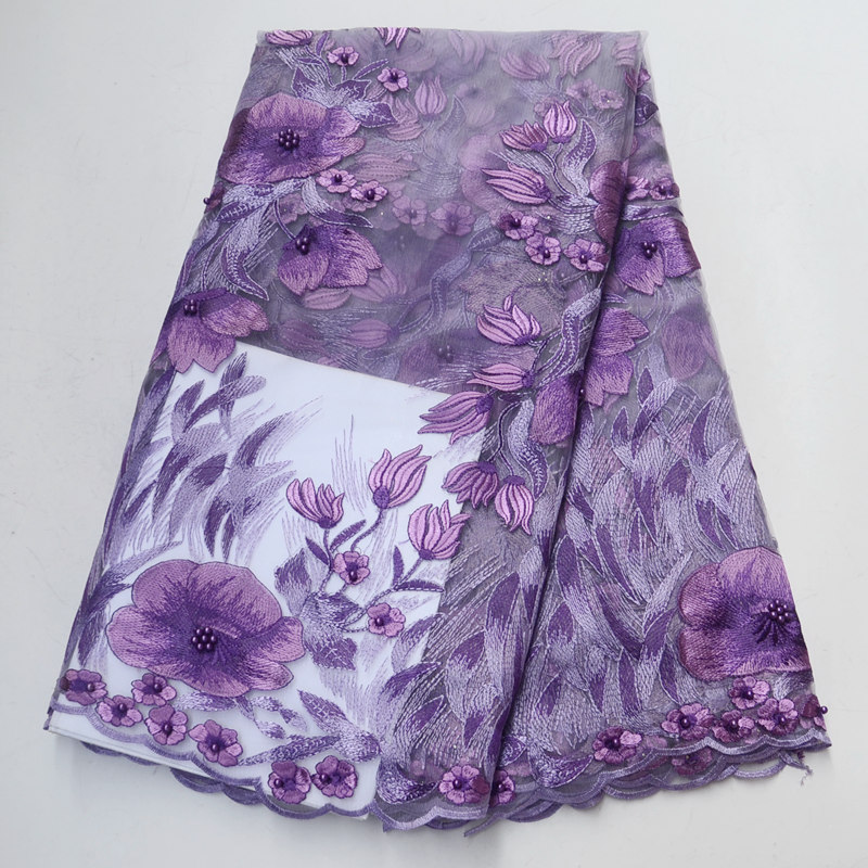 lilac purple african lace fabric 2018 high quality lace aso ebi mesh fabric Embroidered Beaded nigerian