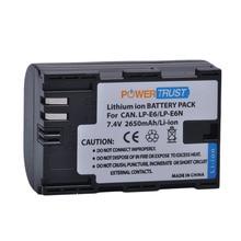 PowerTrust LP-E6 LP E6 LPE6 LP-E6N 2650mAh Camera Battery For Canon EOS 5DS 5D Mark II Mark III 6D 7D 60D 60Da 80D DSLR EOS 5DSR