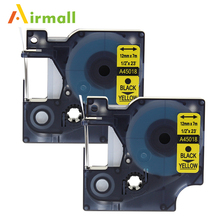 Airmall 2 Pack/lot Compatible DYMO D1 Label Tapes 12mm black on Yellow 45018 for DYMO LabelManager 160 280 420P PnP 220P 360D