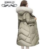 2018 Winter women long Down Cotton Jacket coat Top level Duck down Keep warm female overcoat Plus size hooded fur collar jackets