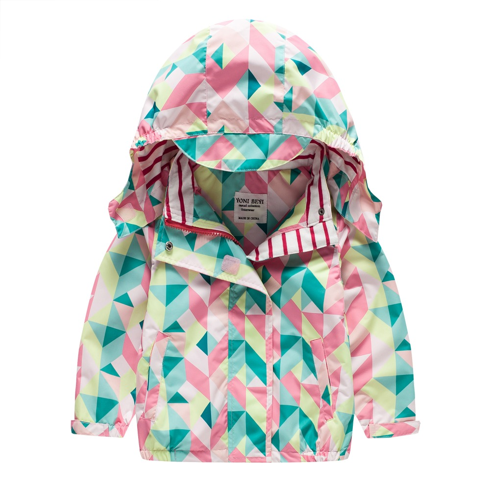 TYY-06 Autumn Winter Fashion Colorful geometry Coat Hoodie Child Jacket Girl Tops Windbreaker cute Print Coat Summer Thin Jacket letter print raglan hoodie