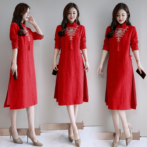 Long Sleeve Vintage Embroidery Knee-length Women Dress Red Artistic Stand Collar Tassel Dress Women Cheongsam Dresses