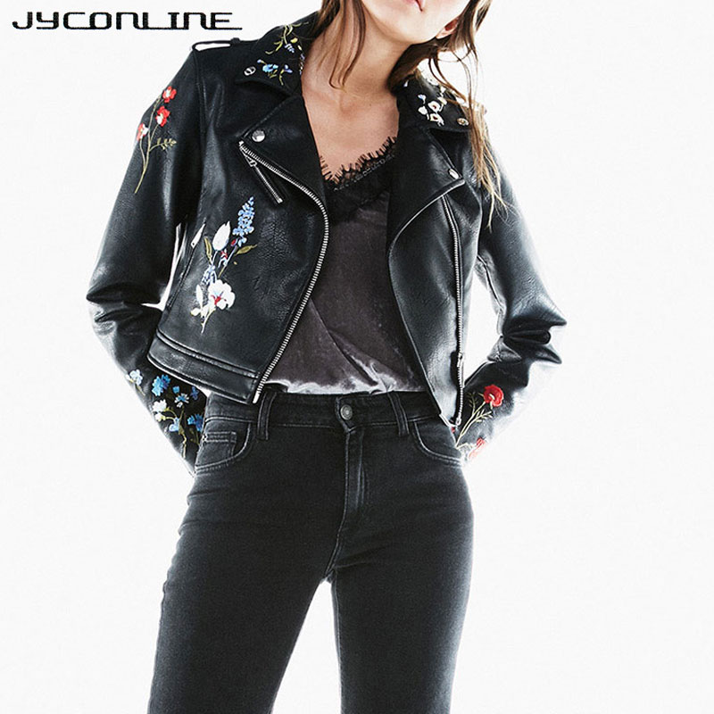 JYConline Autumn PU Leather   Jackets   Women Embroidery Coat Women   Jacket   Punk Motorcycle Zipper Ladies   Basic     Jackets   Short Outwear