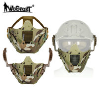 WosporT Tactical Paintball Face Masks Iron Samurai Fit Fast Helmet Cover Collocation Half Face Mask for CS Airsoft Fast Helmet