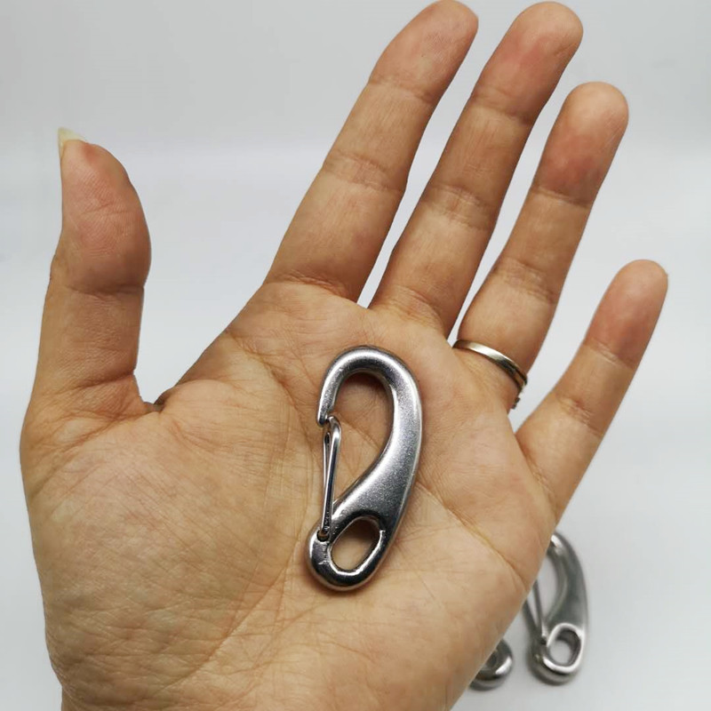 4PCS 50mm Boat Marine Stainless Steel Egg Shape Spring Snap Hook Clips Quick Link Carabiner Buckle Eye Shackle