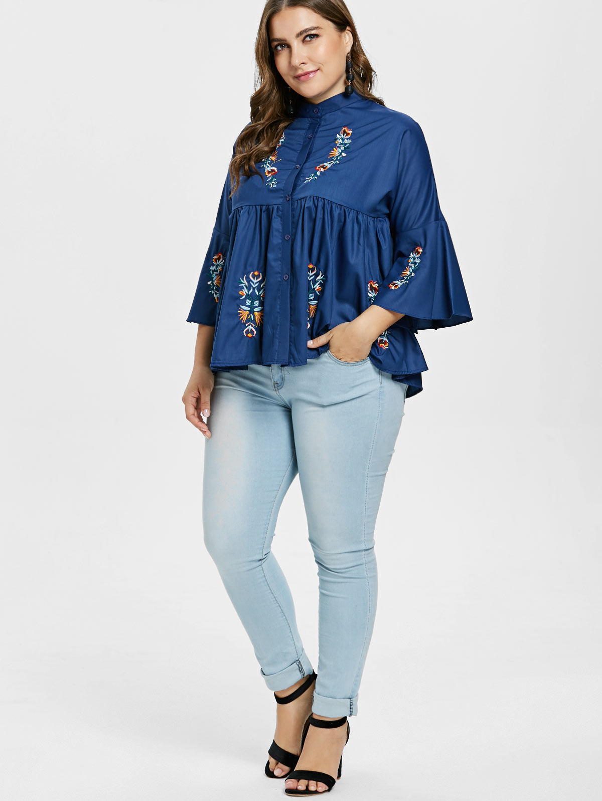 2bb7a32216 US $16.65 45% OFF Wipalo Plus Size 5XL Empire Waist Floral Embroidery  Blouse Casual Denim Blue Stand Up Collar Flare Sleeve Blouse Fall Women  Top-in ...