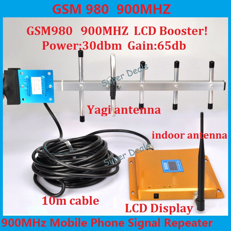 Hot LCD display 2G GSM 900 MHz 900mhz Mobile Phone Cell Phone signal Booster Repeater amplifier 65db 1000sq with yagi antennaHot LCD display 2G GSM 900 MHz 900mhz Mobile Phone Cell Phone signal Booster Repeater amplifier 65db 1000sq with yagi antenna