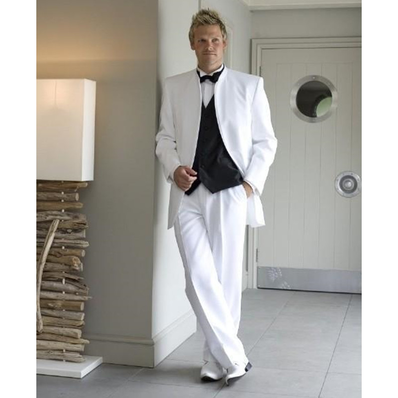 White Mens Suits For Wedding Stand Collar Grooms Tuxedos Three Piece Mens Suits Slim Fit Groomsmen Suit (Jacket+Pants+Vest)
