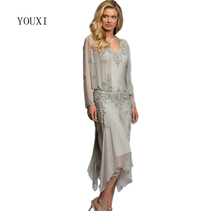 Gorgeous A Line Two Piece Chiffon Mother Of The Bride Dresses With Long Sleeves Mid Carf Wedding Party Gowns Evening