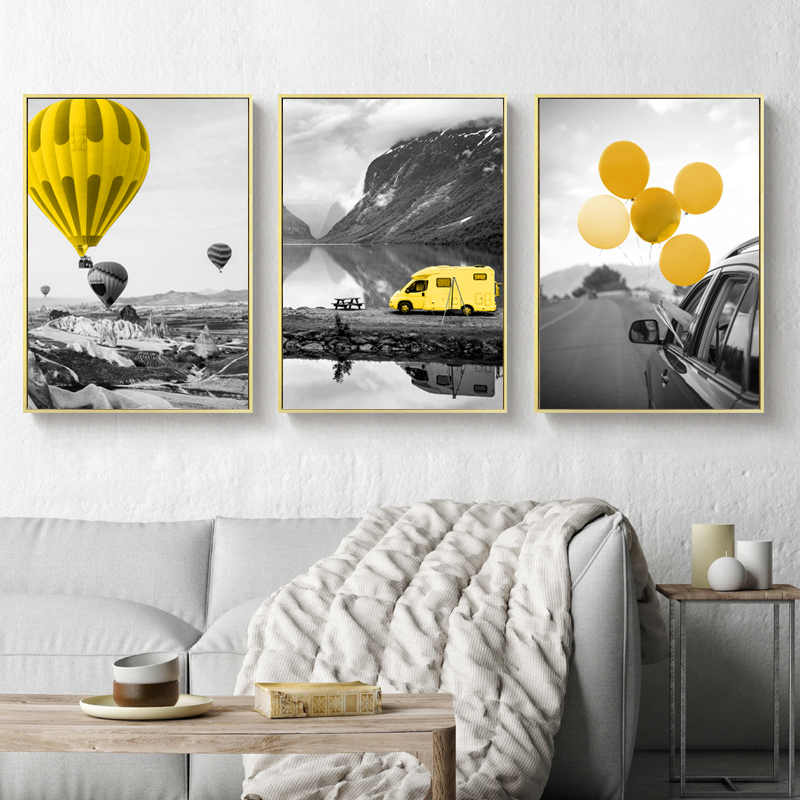 Modern Travel Poster Landscape Yellow Air Ballon Prints Canvas Paintings Abstract Wall Art Pictures Living Room Home Decorative