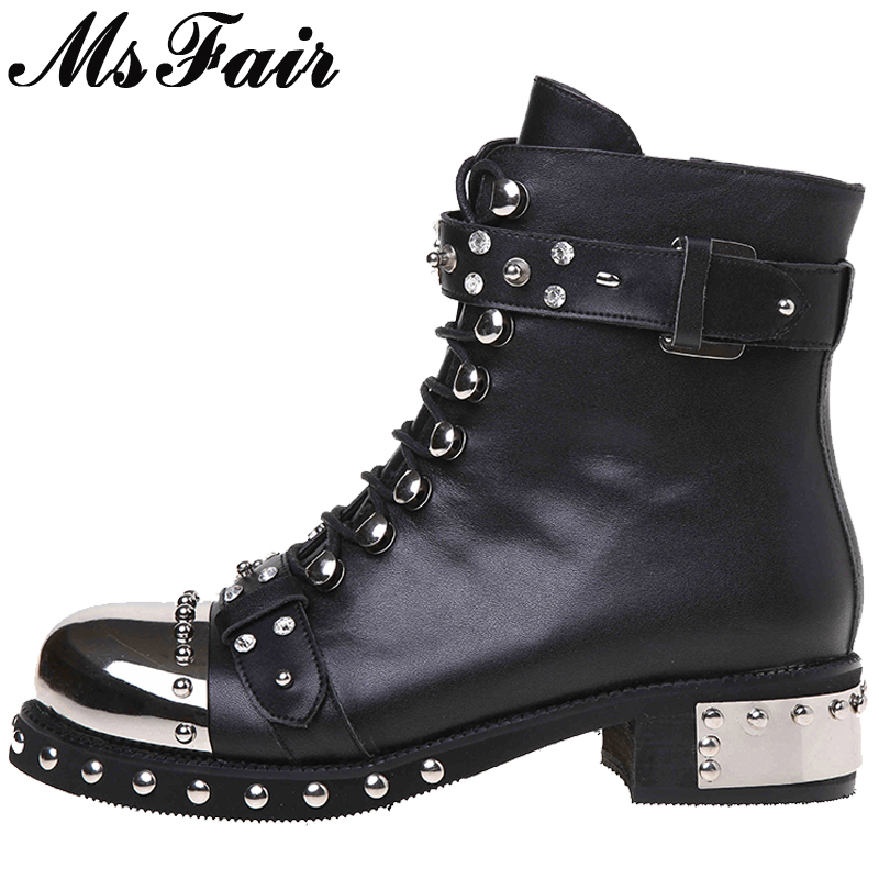 MSFAIR Round Toe Square heel Women Boot Rivet Crystal Mid Heel Ladies Ankle Boot Winter Short Plush Buckle Women Martin Boots double barrel toddler boys s andy cowboy boot square toe