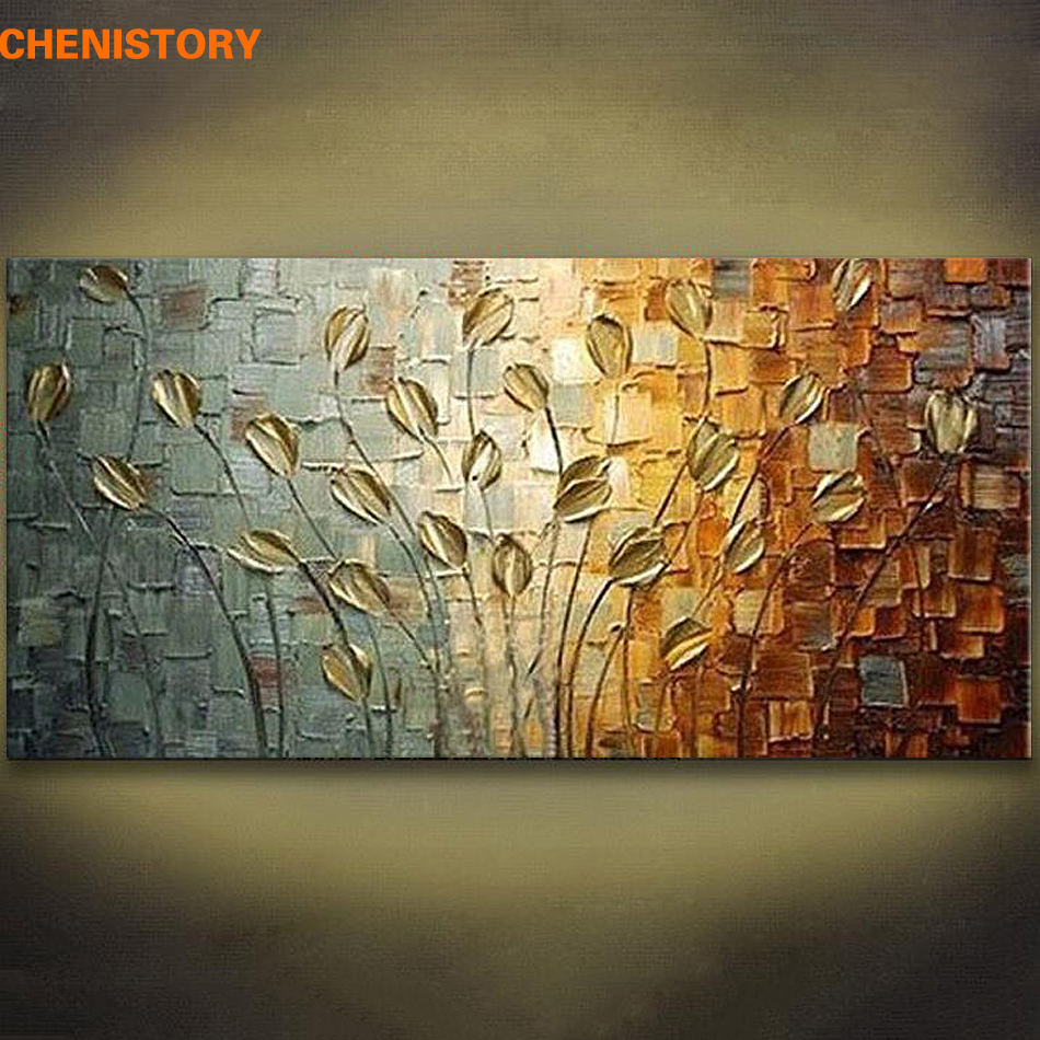 Unframed Handmade Texture Knife Flower Tree Abstract Modern Wall Art Oil Painting Canvas Home Wall Decor For Room Decoration