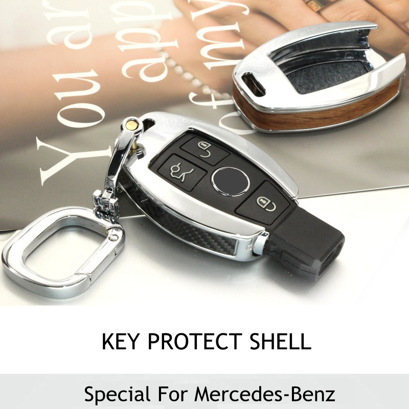 Wood carbon fiber key shell holder remote car key case for Mercedes benz key holder
