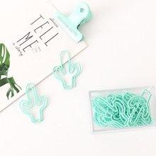 Tutu 20 unidades/pacote cacto verde claro, clipe de papel de metal, marcadores de página, clipe para livro, papelaria, envio direto h0299