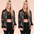 American Camouflage Bomber 2016 Fashion Womens Bomber Jacket Baseball Ladies Pilots Outerwear Harajuku Army Green Coat