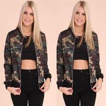 American Camouflage Bomber 2016 Fashion Womens Bomber Jacket Baseball Ladies Pilots Outerwear Harajuku Army Green Coat