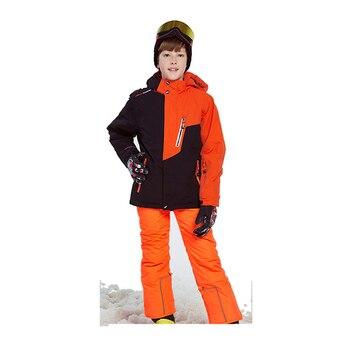 Winter new children's boy ski suit waterproof warm pants -30 degrees boy snowboard jacket + ski pants children's outdoor suit