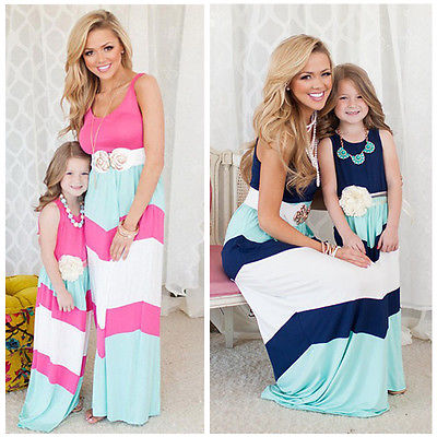 Hot Family Mother Daughter Women Girls Summer Stripe Stitching Maxi Long Dress