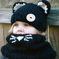 cute baby toddler winter beanie warm hat hooded scarf earflap knitted Woolen Caps Hats Hooded Wool Scarf Hats For Kids 5-10 Ages