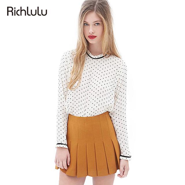 Richlulu bonito dot imprimiram a camisa blusa mulheres manga comprida o pescoço voltar tops botão feminino casual elegante blusa básica clothing