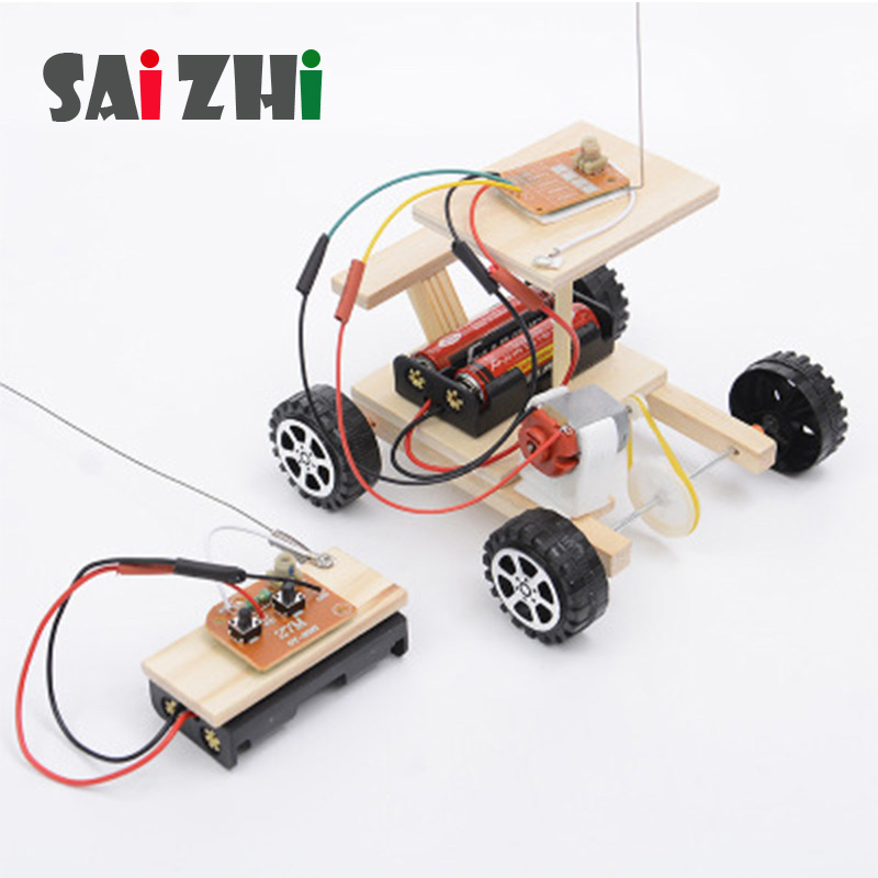 Saizhi Science Toys Diy Machine Wireless Remote Control Toys Racing  Developing Intelligent STEM Electric Toy Car Birthday Gift