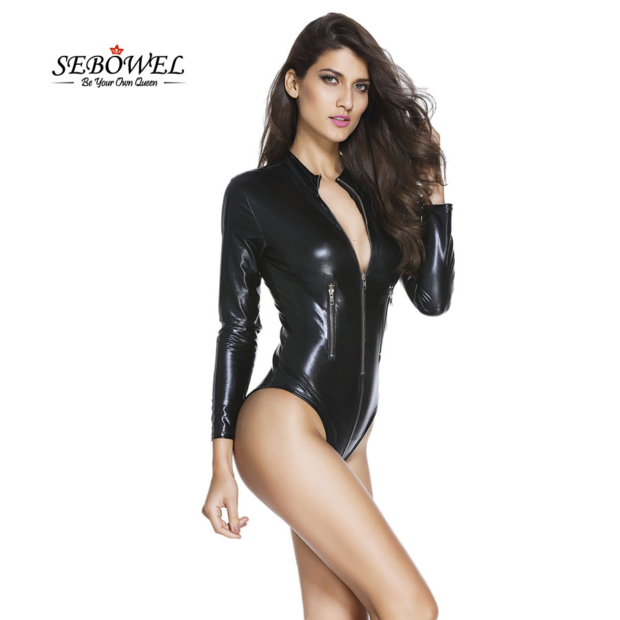 SEBOWEL 2019 Women Autumn Black Leather Long Sleeve Bodysuit Pole Hot Sexy Club Overall Jumpsuit With Zipper Black for Lady