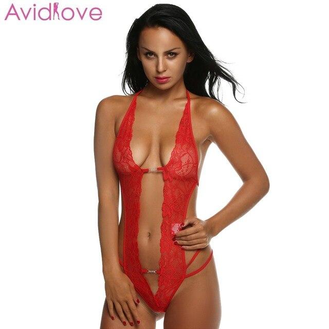 b101f3244584 Avidlove Women Sexy Lingerie Hot Erotic Lace Mini Teddy Sexy Underwear  Front Open Lenceria Sexy Costume Sleepwear Plus Size