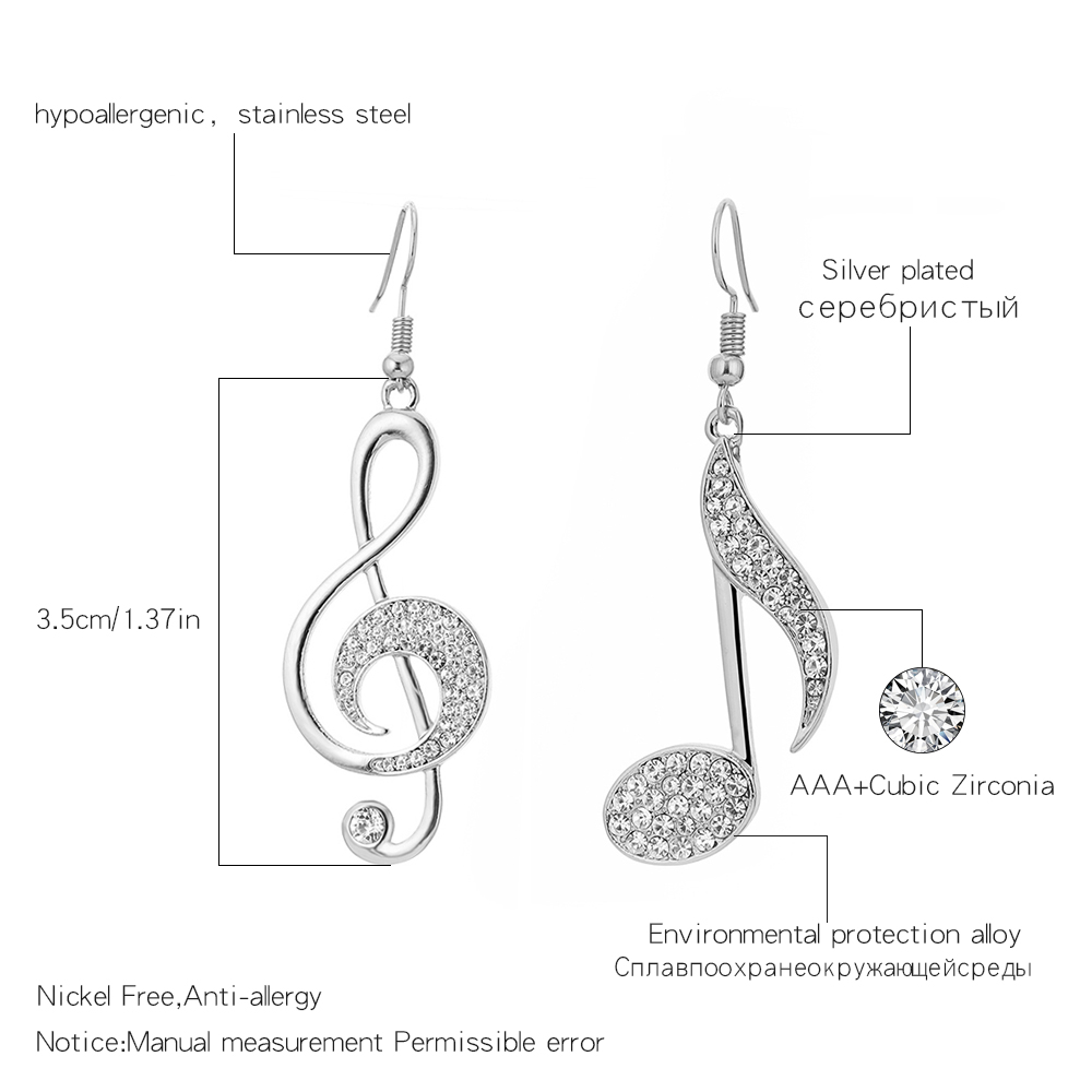Gold Color Music Notes Drop Earrings Full CZ Clear Crystal Earring Musical Fans Big Earrings For Women Fashion Jewelry 2020