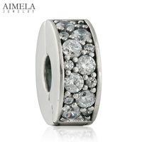 AIMELA Fit Pandora Bracelets Shimmering Elegance Clip Stopper Beads With Clear CZ Stones 925 Sterling Silver