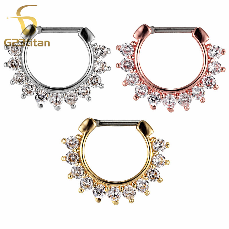 G23titan Crytal Septum Clicker High Quality Nose Piercing Smykker 16g G23 Titanium Pole Bright Zircon Crystal