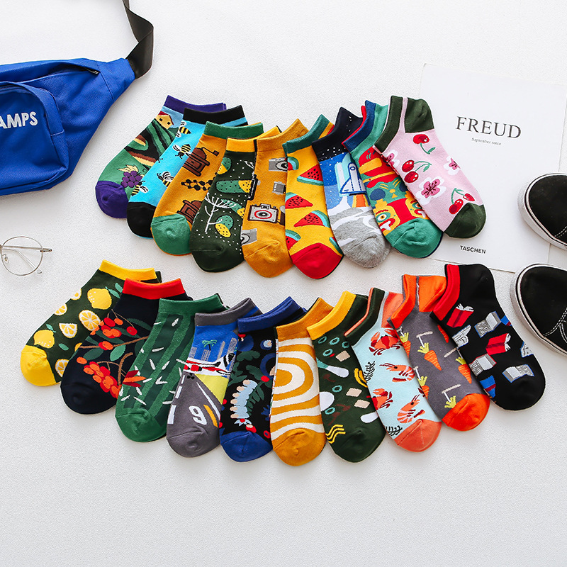 Summer Trendy happy   Socks   men Cotton Boat Man   Socks   Interest Funny Originality Series harajuku ankle   sock   Animal fruit Couple