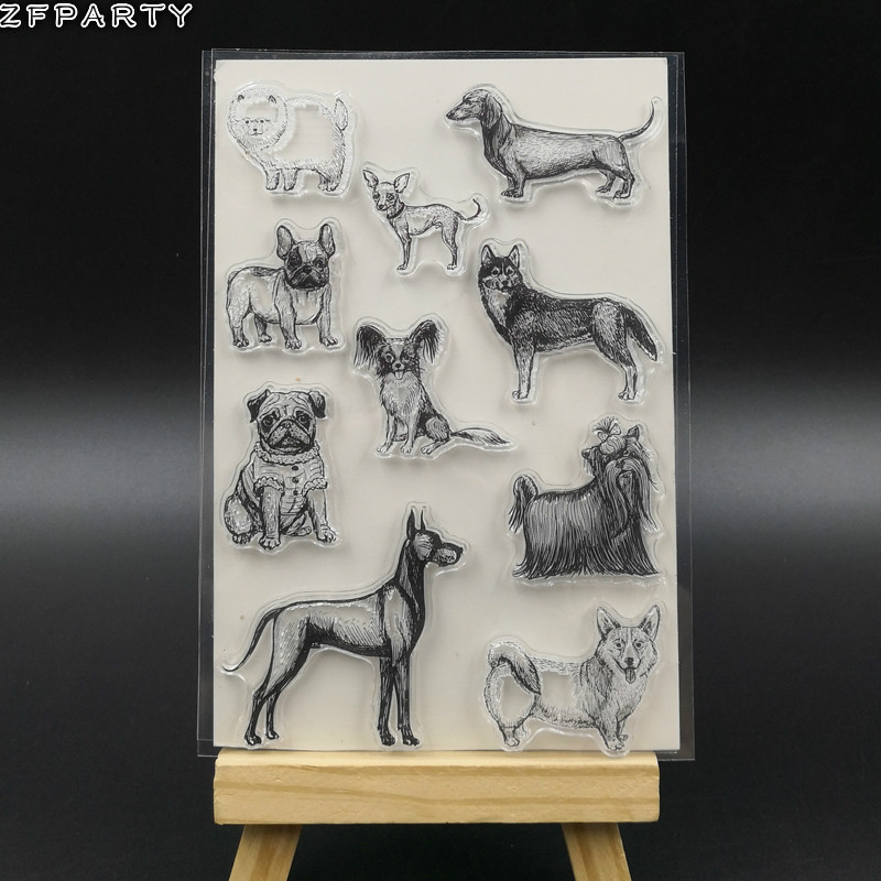 ZFPARTY Cute Pet Dogs Transparent Clear Silicone Stamp/Seal for DIY scrapbooking/photo album Decorative Card Making lovely animals and ballon design transparent clear silicone stamp for diy scrapbooking photo album clear stamp cl 278