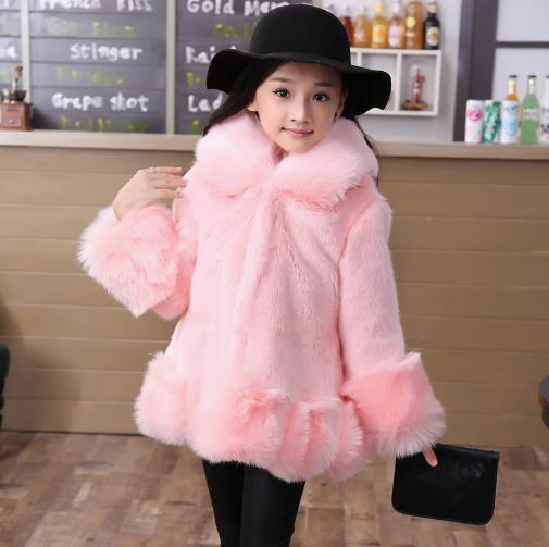 Autumn Winter Coat For Children Hooded Collar Menina Hiver 2018 Adolescente Filles Faux Fur Kids