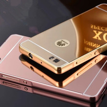 For Huawei P8 Lite Case Luxury Mirror Metal Aluminum+Acrylic Hard Back Cover Phone Bag Accessory For P8Lite/P8 Mini 5.0 inch