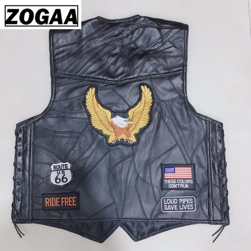 New Genuine Sheep Leather Punk Vest Concealed Carry Biker Vest With Patches Motorcycle Jackets