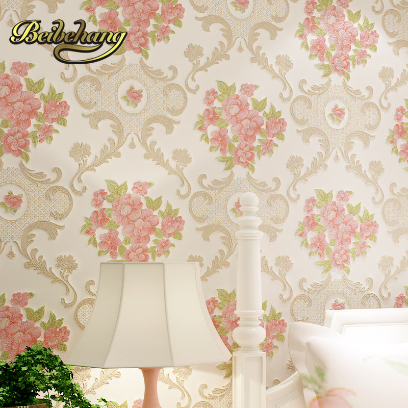 beibehang Fine pressure Continental garden 3d three - dimensional non - woven wallpaper warm bedroom living room full shop beibehang wallpaper 3d three dimensional relief korean garden flower large open living room bedroom full shop wallpaper backdrop