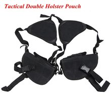 Tactical Nylon Concealed Carry Holsters Underarm Double-gun Shoulder Holster Left Right Hand Gun Pouch For Universal Gun