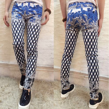 stage costumes Korean style male printing jeans pants fashion tide slim jeans trousers prom performance rock jazz for singer DS