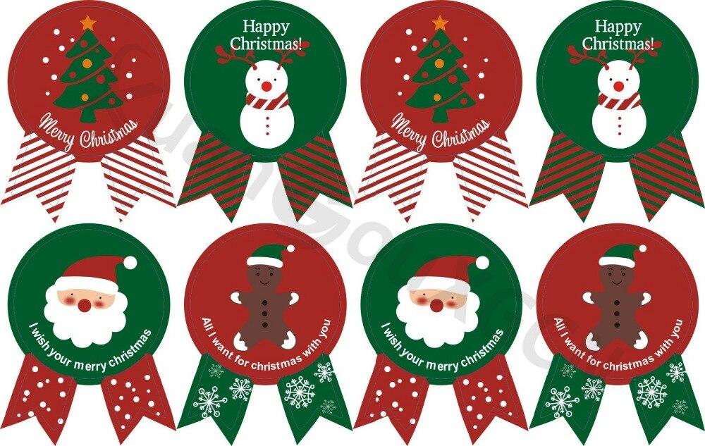 120pcs DIY Baking seal stickers Christmas tree cartoon snowman Gift Tags Favors Party Label Marks Burlap Vintage Decoration