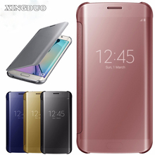 XINGDUO Mirror Smart Clear View Flip Hard Back Case Cover For Samsung Galaxy S6/S6 Edge/S7/S7 Edge filp case