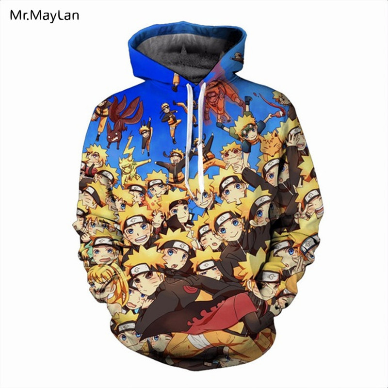 Harajuku Anime Naruto Uzumaki 3D Print Coat Men/Women Hiphop Streetwear Hoodies Hat Sweatshirt Boys Jacket ropa hombre Oversize