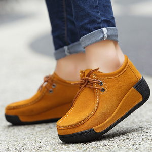 Image 5 - Zapatos planos de piel con plataforma para mujer, mocasines con plataforma, informales, con cordones