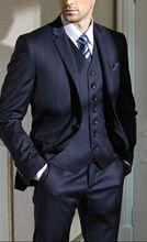 Custom Made Gentleman Dark Blue Men Suits Slim Fit Groom Tuxedos Business Suits Blazer suits for men 3 piece (Jacket+Pants+Vest) blue wedding groom tuxedos for man ceremony prom suit 3 piece smoking business party men suits custom made jacket vest pant