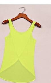 10 шт./партия,, летние женские повседневные рубашки из конфетного цвета, без рукавов, сексуальный однотонный топ с открытой спиной, шифоновый однотонный жилет - Цвет: yellow