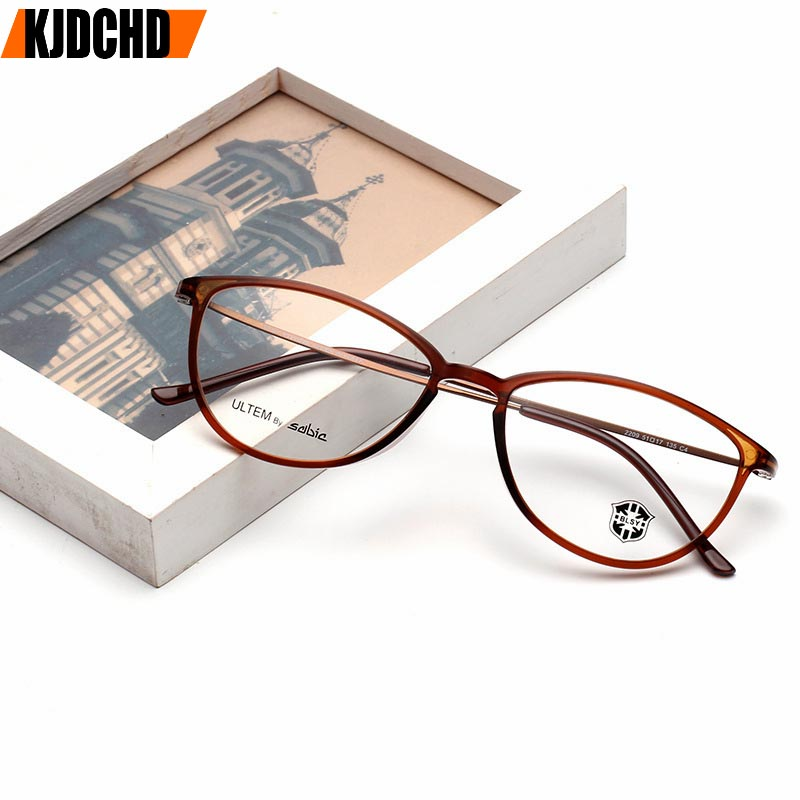 KJDCHD Tungsten Titanium Glasses Men Women Cat Eye Eyeglasses Frames Precription Spectacles Ultra Light Eyeglass Female Points