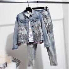 European Autumn Women Fashion Sequins Short Denim Jacket Coat + Hole Jeans Two P