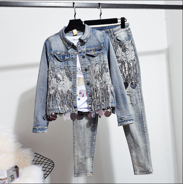 European Autumn Women Fashion Sequins Short Denim Jacket Coat + Hole Jeans Two Piece Vintage Denim Set Student Streetwear